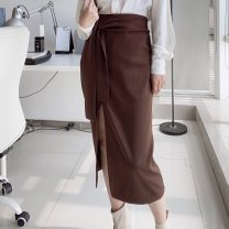 skirt Autumn 2020 S,M,L Brown, sapphire blue, black longuette commute High waist skirt Solid color Type H 25-29 years old TFK-059 71% (inclusive) - 80% (inclusive) brocade Tailorlady nylon Bowknot, lace, three-dimensional decoration, asymmetry, zipper, stitching Simplicity