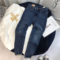 Jeans Autumn of 2019 Denim blue 26,27,28,29,30 Ninth pants Pencil pants routine 25-29 years old Scratch pattern Dark color 96% and above
