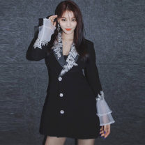 suit Spring 2021 black S,M,L Long sleeves Medium length Self cultivation Polo collar Single breasted other pagoda sleeve Solid color 18-24 years old 71% (inclusive) - 80% (inclusive) acrylic fibres Cross border women's wear