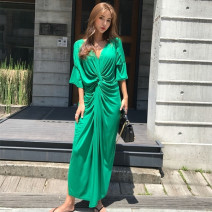 Dress Summer of 2019 green S M L XL Mid length dress singleton  Short sleeve commute V-neck Loose waist Solid color Socket Irregular skirt Bat sleeve Others 18-24 years old Type H Charming Poetry Korean version Pleating MST 19040501 More than 95% cotton Cotton 100% Pure e-commerce (online only)
