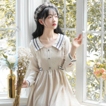 Dress Autumn 2020 Grey, apricot S,L,M Mid length dress singleton  Long sleeves Sweet Admiral High waist Solid color zipper Big swing routine Others 18-24 years old Splicing 81% (inclusive) - 90% (inclusive) other