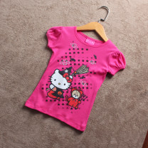 T-shirt rose red Other / other 85CM (2t), 90cm (3T), 100cm (4T) female summer Short sleeve Crew neck princess No model nothing cotton Cartoon animation Cotton 100% D407 other other 18 months, 3 years, 2 years, 5 years, 4 years