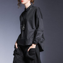 shirt Black, green M,L,XL Spring 2021 cotton 96% and above Long sleeves street Regular square neck Single row multi button other Solid color Honey management XY3371 Europe and America cotton