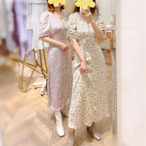 Dress Summer 2021 Purple flowers, light pink flowers, brown black flowers, mint S,M,L longuette singleton  Short sleeve commute other middle-waisted Broken flowers Socket other other camisole 18-24 years old OP-D-8853 More than 95% other polyester fiber