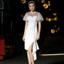 Dress / evening wear Party company annual meeting daily appointment XS S M L XL white Simplicity Medium length High waist Summer of 2019 Self cultivation U-neck Deep V style 26-35 years old Short sleeve Nail bead Solid color Mangostice Other polyester 95% 5% Pure e-commerce (online only) Sequins