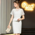 Dress / evening wear Weddings, adulthood parties, company annual meetings, daily appointments XS S M L XL white grace Short skirt High waist Summer 2020 Short buttocks U-neck zipper 26-35 years old Short sleeve Solid color Mangostice routine Other polyester 95% 5% Pure e-commerce (online only)