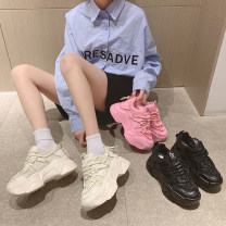 Low top shoes 35 36 37 38 39 40 Jinxinduo Pink black white Round head Mesh Muffin bottom Middle heel (3-5cm) Deep mouth cloth Summer 2021 Frenulum Korean version Adhesive shoes Youth (18-40 years old) Solid color polyurethane Single shoes Cross bandage leisure time Face dressing