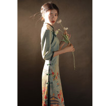 cheongsam Winter 2020 S M L XL XXL XXXL Undersea winter three quarter sleeve long cheongsam Retro High slit daily Oblique lapel Decor 18-25 years old Piping American Latin other Other 100% Pure e-commerce (online only)