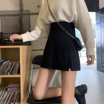 skirt Spring 2021 S,M,L black Short skirt Sweet High waist A-line skirt Solid color Type A Under 17 rp2 30% and below other other solar system