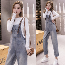 Casual pants blue S M L XL Autumn of 2019 Ninth pants Wide leg pants High waist commute routine 18-24 years old 96% and above Zhendiya other Korean version straps Other 100% Pure e-commerce (online only)