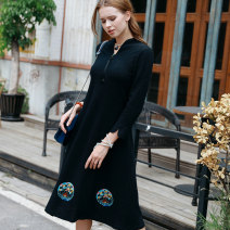 Dress Spring of 2019 White, black, red L XL XXL Mid length dress singleton  Nine point sleeve commute V-neck Elastic waist Socket A-line skirt other 30-34 years old literature Embroidery 51% (inclusive) - 70% (inclusive) polyester fiber Same model in shopping mall (sold online and offline)