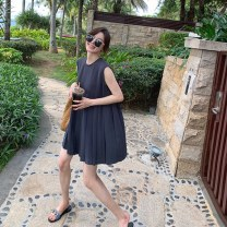 Dress Summer 2021 Grey skirt black skirt S M L XL Mid length dress singleton  Sleeveless commute Crew neck High waist Solid color Socket A-line skirt other Others 18-24 years old The lotus Korean version fold 71% (inclusive) - 80% (inclusive) other polyester fiber Polyester 80% other 20%