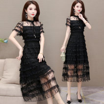 Dress Summer 2021 black M L XL 2XL 3XL 4XL Mid length dress Short sleeve Sweet Cake skirt Others 40-49 years old Just beautiful More than 95% polyester fiber Other polyester 95% 5% Pure e-commerce (online only)