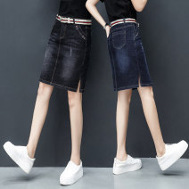 skirt Spring 2021 26/S 27/M 28/L 29/XL 30/XXL 31/XXXL Black dark blue Short skirt commute High waist Denim skirt Solid color Type A 81% (inclusive) - 90% (inclusive) Denim Shallow purchase cotton pocket Korean version Exclusive payment of tmall