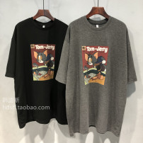 Women's large Spring 2021 Dark grey black M L XL T-shirt singleton  commute easy moderate Socket Short sleeve Cartoon animation Korean version Crew neck routine cotton printing and dyeing routine Xixiduo 18-24 years old tie-dyed Polyester 65% Cotton 30% polyurethane elastic fiber (spandex) 5%