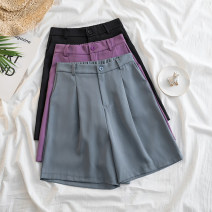 Women's large Spring 2021, summer 2021 Purple, gray, black L [100-120 Jin recommended], XL [120-140 Jin recommended], 2XL [140-160 Jin recommended], 3XL [160-180 Jin recommended], 4XL [180-200 Jin recommended] trousers singleton  commute easy Solid color Korean version other Three dimensional cutting