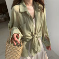 Lace / Chiffon Summer 2021 White green blue lotus root S M L XL Long sleeves commute Cardigan singleton  Straight cylinder Regular Polo collar Solid color routine 18-24 years old Yabara Button Korean version Other 100% Pure e-commerce (online only)