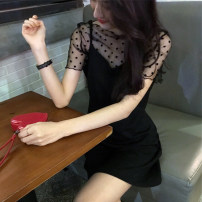 Dress Summer 2020 black S M L XL Short skirt Two piece set Short sleeve commute V-neck Loose waist Solid color Socket A-line skirt routine camisole 18-24 years old Type A Ru Shu Korean version Gauze K3510 More than 95% other Other 100% Pure e-commerce (online only)