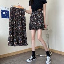 Women's large Summer 2021 M L XL XXL skirt singleton  commute easy thin Flower color Korean version cotton Mjlanlj / Milan 18-24 years old 31% (inclusive) - 50% (inclusive) Middle-skirt Polyester 65% Cotton 30% polyurethane elastic fiber (spandex) 5% Pure e-commerce (online only) other