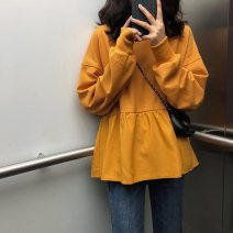 Sweater / sweater Autumn of 2019 Yellow blue white black M L XL XXL Long sleeves routine Socket Fake two pieces Thin money Crew neck easy commute routine Solid color 25-29 years old 71% (inclusive) - 80% (inclusive) Mjlanlj / Milan Korean version polyester fiber Two pieces of stitching thread cotton