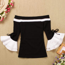 T-shirt White, black Average size Spring of 2018 elbow sleeve One word collar Self cultivation have cash less than that is registered in the accounts pagoda sleeve commute other 51% (inclusive) - 70% (inclusive) 18-24 years old Korean version Solid color Lotus leaf edge
