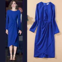 Dress Spring 2021 blue S,M,L,XL Mid length dress singleton  Long sleeves commute Crew neck High waist Solid color Socket One pace skirt routine Others 25-29 years old Type H lady Ruffles, folds F0910-0611 51% (inclusive) - 70% (inclusive) other polyester fiber