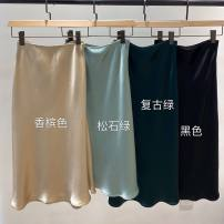 skirt Spring 2021 S,M,L Champagne, black, dark green, light green, grey, pink Mid length dress Versatile High waist A-line skirt Solid color Type A 71% (inclusive) - 80% (inclusive) Cellulose acetate