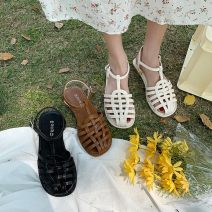 Sandals 35 36 37 38 39 40 Black white light brown black upgrade white upgrade light brown upgrade PU Jentina Baotou Flat heel Low heel (1-3cm) Summer 2021 Flat buckle solar system Solid color Adhesive shoes Youth (18-40 years old) rubber daily Ankle strap Waterproof table weaving Low Gang PU PU