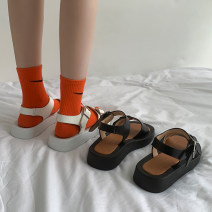 Sandals 35 36 37 38 39 White upgrade black upgrade white black PU Jentina Barefoot Flat bottom Middle heel (3-5cm) Summer 2021 Flat buckle Korean version Solid color Adhesive shoes Youth (18-40 years old) rubber daily Front and rear trip strap Waterproof belt buckle Low Gang Lateral space PU PU