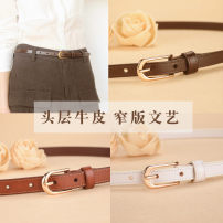 Belt / belt / chain top layer leather Two bars minus 20 yuan [more cost-effective] coffee (1.4cm with body) white (1.4cm with body) black (1.4cm with body) Brown (1.8cm with body) coffee (1.8cm with body) white (1.8cm with body) black (1.8cm with body) female belt Simplicity Single loop Pin buckle