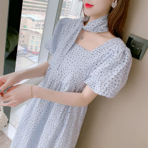 Dress Summer 2021 Blue (hair belt) S,M,L,XL longuette singleton  Short sleeve commute square neck Broken flowers Socket A-line skirt bishop sleeve 18-24 years old Type A Korean version 51% (inclusive) - 70% (inclusive) other other