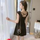 Dress Summer 2021 black S,M,L,XL,2XL Miniskirt Sleeveless Crew neck middle-waisted Solid color A-line skirt Oblique shoulder 91% (inclusive) - 95% (inclusive)