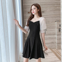 Dress Summer 2020 black S,M,L,XL Short skirt singleton  Short sleeve commute One word collar middle-waisted Solid color Socket A-line skirt puff sleeve Others 18-24 years old Type A Korean version Fungus, splicing 51% (inclusive) - 70% (inclusive)