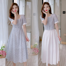 Dress Summer 2021 6837 (dress), 6838 (top + skirt) S,M,L,XL longuette singleton  Short sleeve commute square neck Broken flowers A-line skirt routine 18-24 years old Type A Korean version 51% (inclusive) - 70% (inclusive) other other
