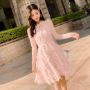 Dress Autumn 2020 Pink, off white, black S,M,L,XL,2XL Middle-skirt singleton  Long sleeves commute other Loose waist Solid color Socket A-line skirt Others Type A Korean version