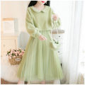 Dress Winter 2020 White, green, pink S,M,L Mid length dress Two piece set Long sleeves Sweet other High waist Solid color Socket Pleated skirt bishop sleeve camisole 18-24 years old Type A Other / other Gauze Fresh suit 81% (inclusive) - 90% (inclusive) Mori
