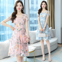 Dress Summer 2021 Blue, pink M,L,XL,2XL,3XL Miniskirt singleton  Short sleeve commute Crew neck High waist Decor Socket A-line skirt routine Others 40-49 years old Type A Korean version printing 31% (inclusive) - 50% (inclusive) other other
