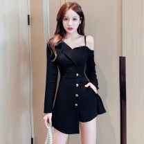 Dress Autumn 2020 Black [9166], black [9180], black [9181] S,M,L,XL,2XL Short skirt Two piece set Long sleeves commute Slant collar High waist Solid color Socket A-line skirt routine Oblique shoulder Type A