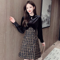 Dress Winter 2020 black S,M,L,XL Short skirt Fake two pieces Long sleeves commute Crew neck High waist lattice Socket A-line skirt bishop sleeve Others Type A Korean version Hollowed out, stitched, button