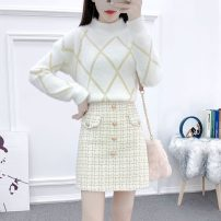Fashion suit Winter 2020 S,M,L,XL White and apricot, white and black, single white dress, single apricot skirt, single black skirt 18-25 years old