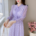 Dress Spring 2021 Picture color S,M,L,XL,2XL Mid length dress singleton  Long sleeves commute other Elastic waist Dot Socket A-line skirt other Type A Korean version Bowknot, lace up, stitching 81% (inclusive) - 90% (inclusive) Chiffon