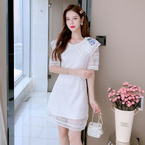 Dress Summer 2021 white S,M,L,XL longuette singleton  Long sleeves commute V-neck High waist Solid color other Princess Dress routine Others Type A Other / other Korean version Splicing 71% (inclusive) - 80% (inclusive) Lace polyester fiber