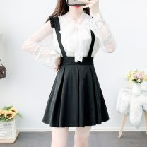 Fashion suit Autumn 2020 S,M,L,XL Apricot Top + card skirt, white top + black skirt, single apricot dress, single white dress, single Khaki group, single black skirt 18-25 years old