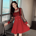Dress Winter 2020 Red, black, white S,M,L,XL Short skirt singleton  Long sleeves commute Crew neck High waist Solid color Socket A-line skirt puff sleeve Others Type A Korean version Inlaid diamond, stitching, button, mesh, zipper