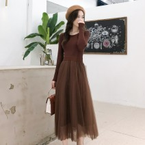 T-shirt Black, coffee brown S,M,L,XL Winter 2020 Long sleeves Crew neck Two piece set Medium length routine commute other 31% (inclusive) - 50% (inclusive) Korean version Solid color Gauze