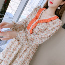 Dress Spring 2021 Picture color S,M,L,XL Mid length dress singleton  Long sleeves commute V-neck middle-waisted Broken flowers zipper A-line skirt other Type A Korean version Fungus, splicing 81% (inclusive) - 90% (inclusive) Chiffon