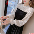 Dress Winter 2020 black S,M,L,XL Mid length dress singleton  Long sleeves commute Crew neck Elastic waist Solid color Socket A-line skirt other Type A Korean version Splicing 81% (inclusive) - 90% (inclusive) Cellulose acetate