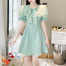 Dress Lace Summer 2021 Middle-skirt elbow sleeve singleton  commute Design and color V-neck High waist Single breasted A-line skirt routine 51% (inclusive) - 70% (inclusive) Type A cotton Other 8611 printing S,M,L