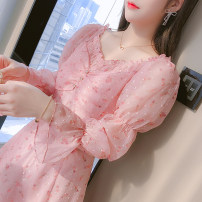 Dress Spring 2021 Pink S,M,L,XL,2XL Mid length dress singleton  Long sleeves commute square neck middle-waisted Broken flowers zipper A-line skirt other Type A Korean version Splicing 81% (inclusive) - 90% (inclusive) Chiffon