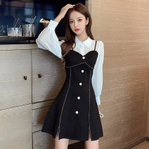 Dress Spring 2021 black S,M,L,XL Short skirt singleton  Long sleeves commute Polo collar High waist Solid color Socket A-line skirt routine 18-24 years old Type A Button 7007# polyester fiber